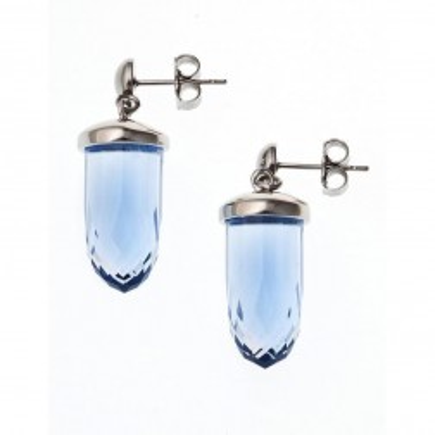 boucle d'oreille acier et verre pour femme, Luminosa Bleu
