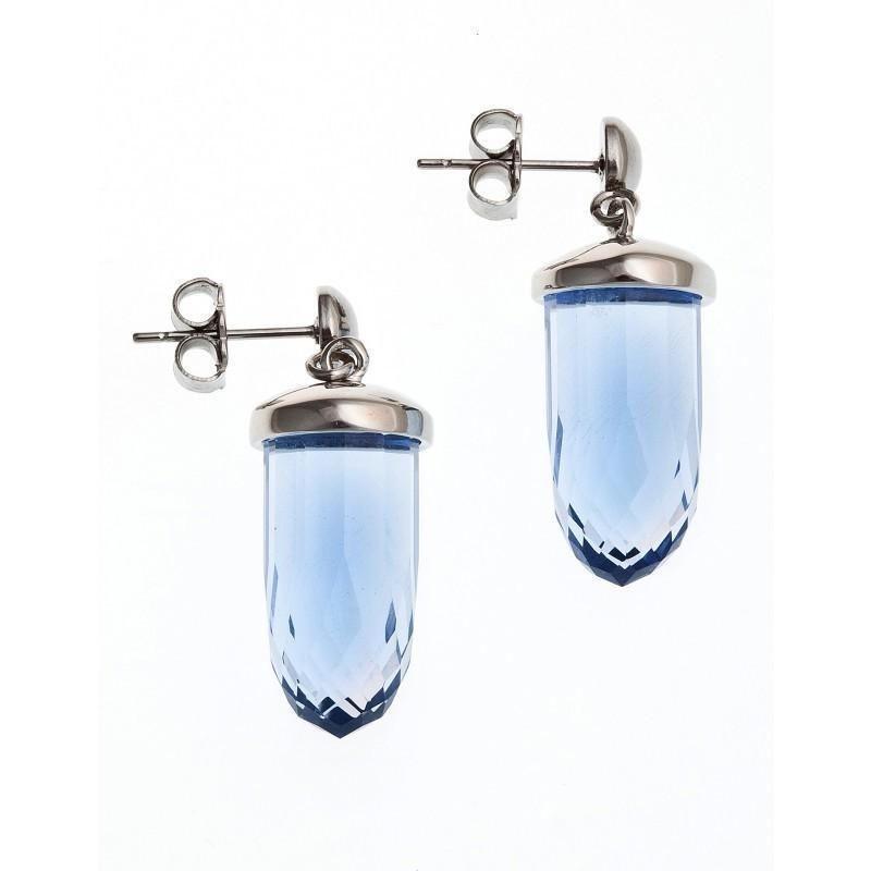 Boucles d'oreille femme, acier & verre bleu - Luminosa - Lyn&Or Bijoux