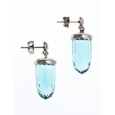 Boucles d'oreille femme en acier & verre turquoise - Luminosa - Lyn&Or Bijoux