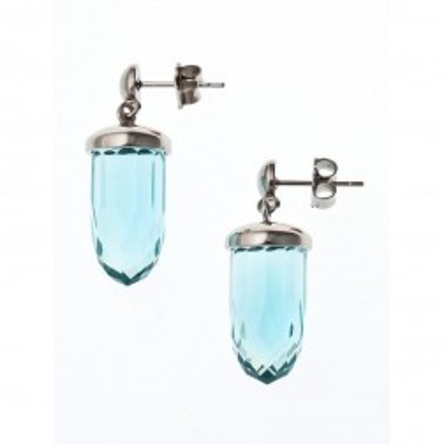 boucle d'oreille acier et verre pour femme, Luminosa Turquoise