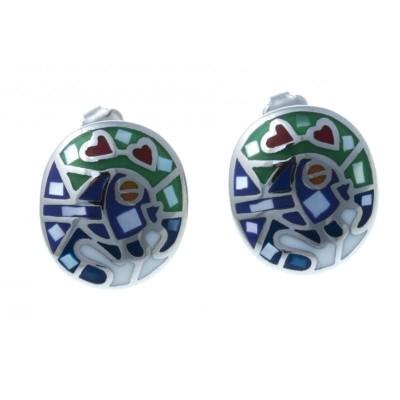 Boucles d'oreilles nacre, acier, émail pour femme - Fish - Lyn&Or Bijoux
