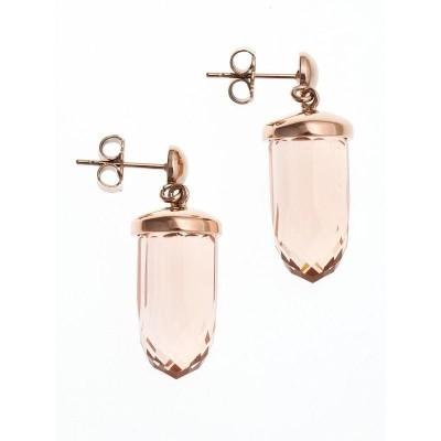Boucles d'oreille femme, acier rosé & verre rose - Luminosa - Lyn&Or Bijoux
