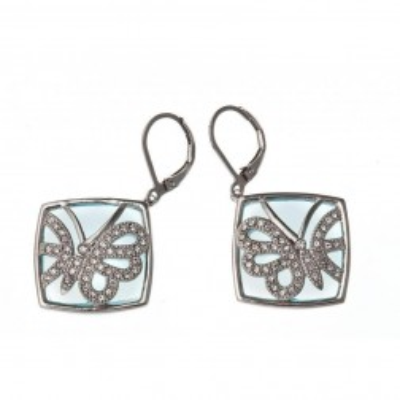 Boucles d'oreille femme, dormeuses en acier, verre & cristal - Lagune - Lyn&Or Bijoux