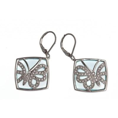 boucle d'oreille papillon acier, cristal et verre bleu, Lagune