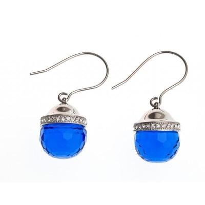 Boucles d'oreille pour femme en acier & verre bleu - Faya - Lyn&Or Bijoux