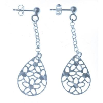 Boucles d'oreilles en argent pendantes pour femme - Saä - Lyn&Or Bijoux