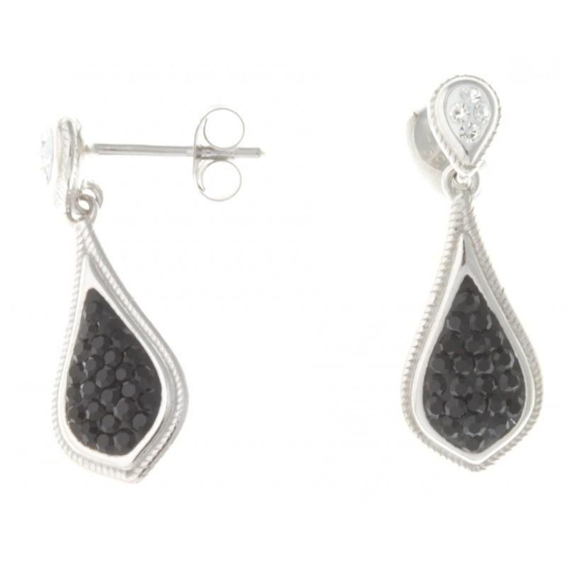 Boucles d'oreille femme, Cristal Preciosa noir & argent - Blackout - Lyn&Or Bijoux