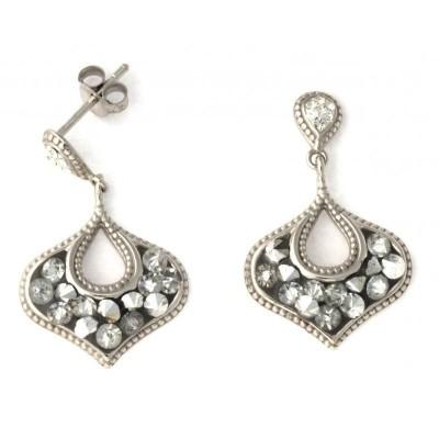 Boucles d'oreille femme en argent et cristal rock - Vintage - Lyn&Or Bijoux