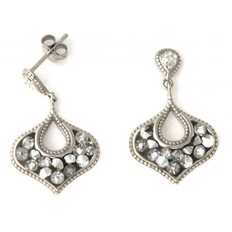 Boucles d'oreilles en argent et cristal - Vintage