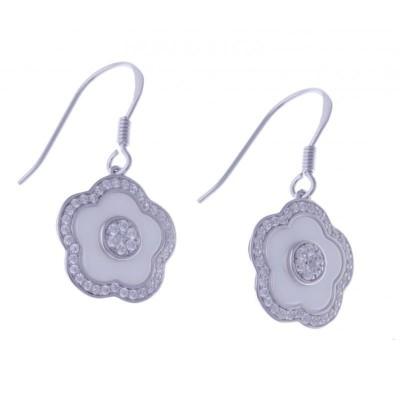 Boucles d'oreille fleur, céramique blanche - Marguerite - Lyn&Or Bijoux