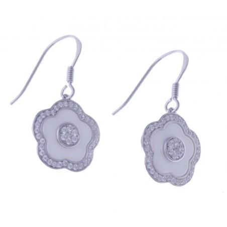 Boucles d'oreilles fleur, céramique blanche - Marguerite