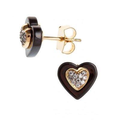 Boucles d'oreille femme, coeur noir en céramique & plaqué or - Vila - Lyn&Or Bijoux