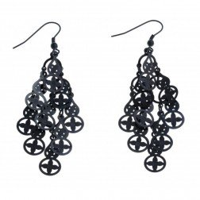 Boucles d'oreille pendantes pour femme en acier noir - Hélice - Lyn&Or Bijoux