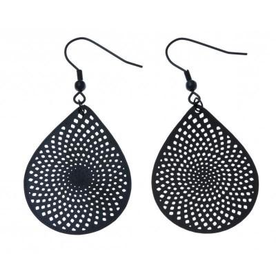 Boucles d'oreilles pendantes en acier noir pour femme - Mirage - Lyn&Or Bijoux