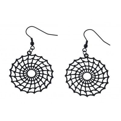 Boucles d'oreille pendantes pour femme en acier noir - Toile d'araignée - Lyn&Or Bijoux