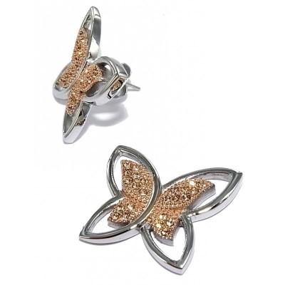 Boucles d'oreilles en acier bicolore pour femme - Envolée - Lyn&Or Bijoux