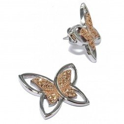 Boucles d'oreilles en acier bicolore pour femme - Envolée