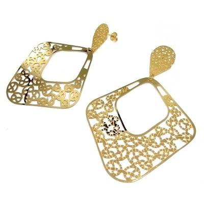 Bijoux en acier doré - grandes Boucles d'oreilles pendantes pour femme