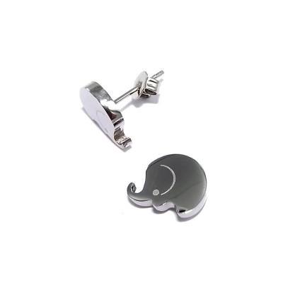 Boucles d'oreilles en acier - Eléphant - Lyn&Or Bijoux