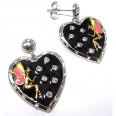 Boucles d'oreille femme, coeur en acier & émail - Secret de fée - Lyn&Or Bijoux