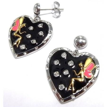Boucles d'oreilles acier Coeur - Secret de fée
