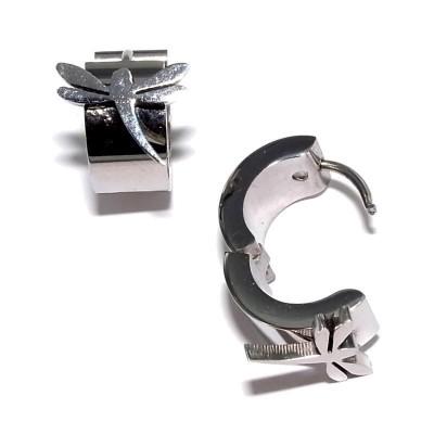 anneaux d'oreilles acier inoxydable pour femme, Libellule