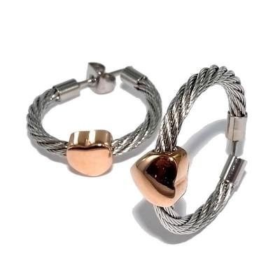 Créoles coeur en acier bicolore pour femme - Santa - Lyn&Or Bijoux