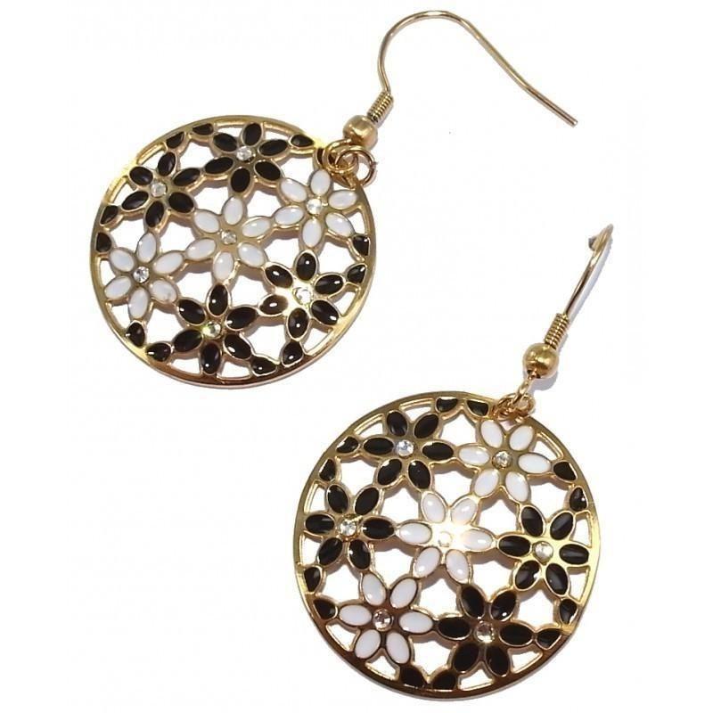 Boucles d'oreille femme en acier doré & fleurs en émail - Florilège - Lyn&Or Bijoux