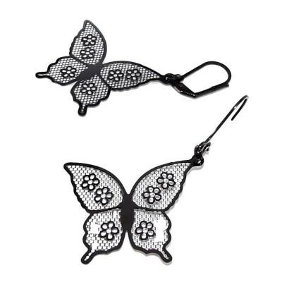 Boucles d'oreilles papillon en acier noir pour femme - Voltige - Lyn&Or Bijoux