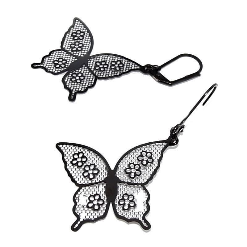 anneaux d'oreilles acier inoxydable noir pour femme, Voltige