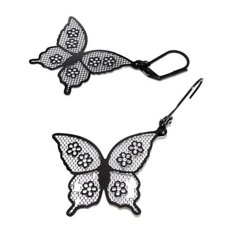 Boucles d'oreilles papillon en acier noir - Voltige