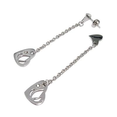 Boucles d'oreilles coeur pendant en acier pour femme - Dalla - Lyn&Or Bijoux