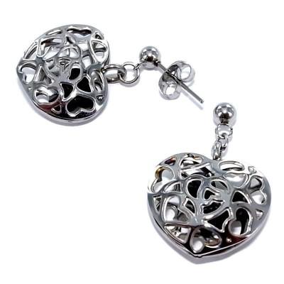 Boucles d'oreille femme, coeur en acier & cristal noir - Carla - Lyn&Or Bijoux
