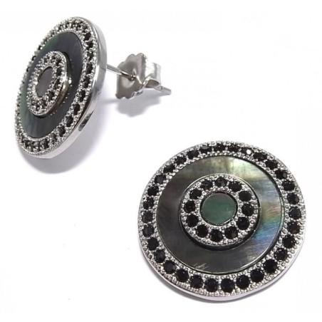 Boucles d'oreilles nacre, acier, cristal noir - Nacrine