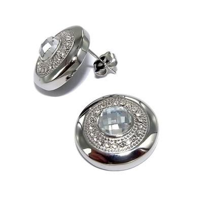Boucles d'oreille femme, clous en acier & cristal - Magie - Lyn&Or Bijoux