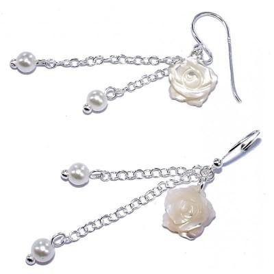Boucles d'oreilles nacre & argent pour femme - Rose blanche - Lyn&Or Bijoux