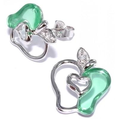 Boucles d'oreilles en argent pour femme - Pomme verte - Lyn&Or Bijoux