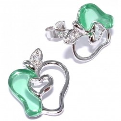 Boucles d'oreille en argent pour femme - Pomme verte - Lyn&Or Bijoux