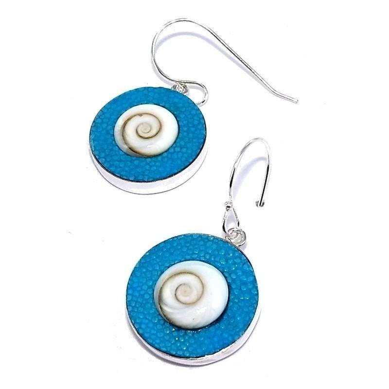 Boucle d'oreille Galuchat Bleu fantaisie pour femme, Oeil de Shiva