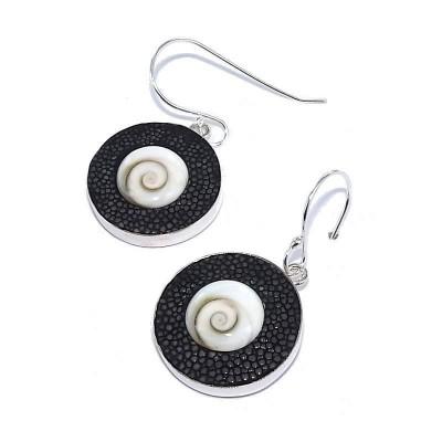 Boucles d'oreilles Galuchat Gris pour femme - Oeil de Shiva - Lyn&Or Bijoux