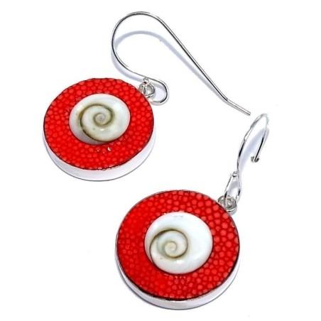 Bijou boucle d'oreille Galuchat Rouge fantaisie pour femme, Oeil de Shiva