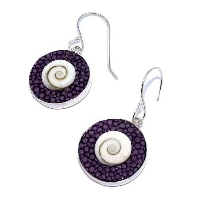 Boucles d'oreilles Galuchat Violet pour femme - Oeil de Shiva - Lyn&Or Bijoux