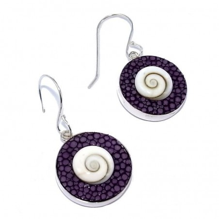 Bijou boucle d'oreille Galuchat Violet fantaisie pour femme, Oeil de Shiva