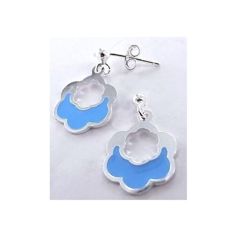 Boucles d'oreille argent, émail bleu pour femme - Nuage - Lyn&Or Bijoux