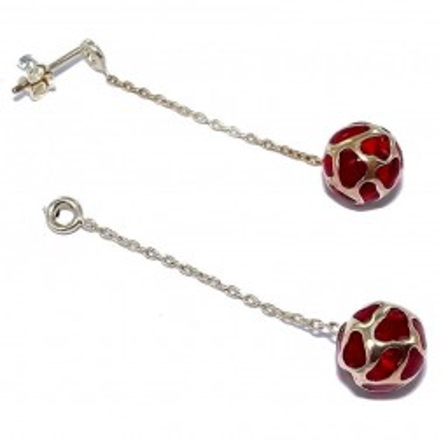 boucles d'oreille rouges en argent 925 /1000 pour femme, Reva