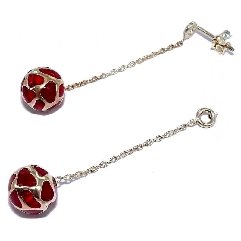 Boucles d'oreille femme, longs pendants argent & perles rouges - Reva - Lyn&Or Bijoux
