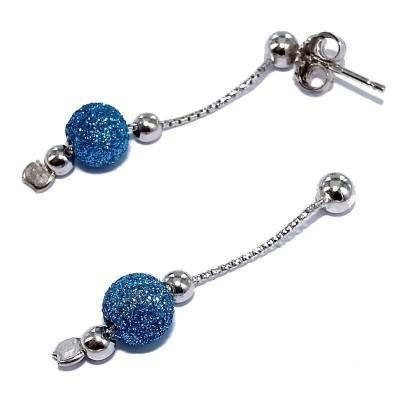 boucle d'oreille en argent 925 fantaisie pour femme, China bleu
