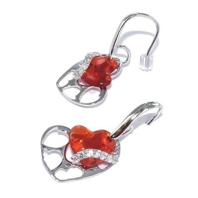 Boucles d'oreille coeur orange pour femme - Ardente - Lyn&Or Bijoux