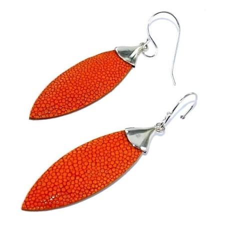 boucle d'oreille Galuchat Orange fantaisie pour femme - Plume