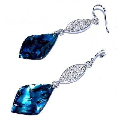 Boucles d'oreilles en nacre abalone pour femme - Lagon - Lyn&Or Bijoux